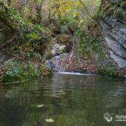 Слоистые скалы в ущелье Мезмайского ручья